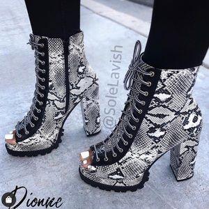 Snake print open toe laceup booties w/ chunky heel